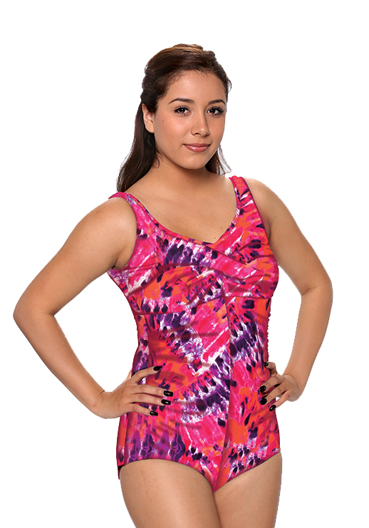 be7e8f90167 Shirred Girl Leg Swimsuit with V front cut and 3 button adjustable straps.  Comes in